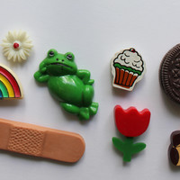 Vintage Set of 8 Fridge Magnets - Frog - Rainbow - Flowers - Cupcakes - Teddy Bear - Oreo - Band-Aid - 1980s