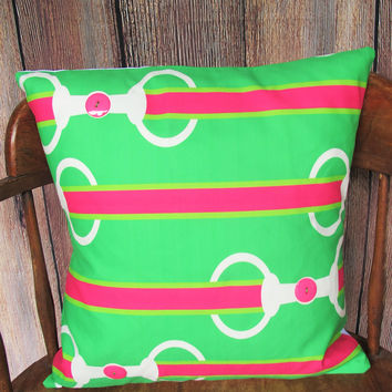 Pink and Green Bit & Button Pillow Cover
