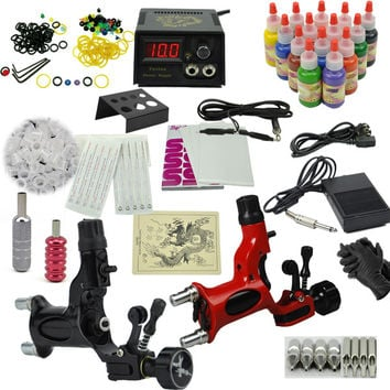 Rotary Tattoo machine set the dragonfly motor tattoo gun kits Professional tatoo set 14 color ink power supply Drop