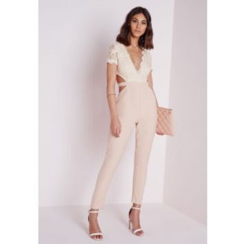 Missguided - Nude Lace Top Cut Out Jumpsuit
