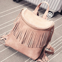 Pink Tassel Zipper PU Backpack