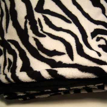 Zebra Double Minky Baby Blanket - READY TO SHIP - Crib Bedding - Toddler Blanker - Stroller 34 x 48