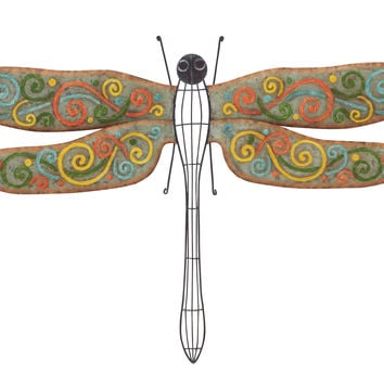 Attractive Colorful Metal Dragonfly Wall Decorative