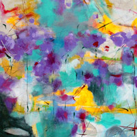 "Abstract Expressionism on Canvas, Gestural, Colorful, Modern Painting, Urban Home Decor ""Walk Through the Garden With Me"""