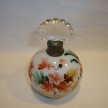 Unusual Ball Shaped Glass Perfume Bottle with Fan Stopper ~ Hand Painted with Flowers