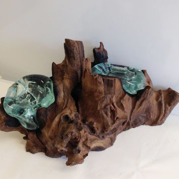 Hand Blown Molten Glass Double Candle Holder and Wood Root Sculpture