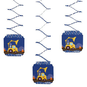 Baby Shower - Construction Truck - Hanging Decorations - 6 ct