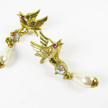 Vintage Love Birds Earrings AR Rhinestones Pink Faux Pearls, Gold Tone, Bridal / Vintage Wedding - Boucles d'Oreilles.