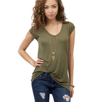 Short Sleeves Scoop Neck Loose T-shirt
