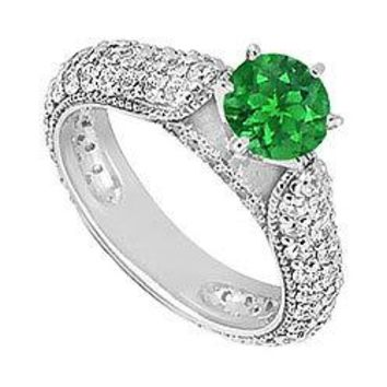 Emerald and Diamond Engagement Ring : 14K White Gold - 1.50 CT TGW