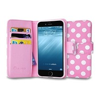 iPhone 6s Plus Case, [Wallet Case] i-Blason KickStand Apple iPhone 6 Plus Case 5.5 Inch Leather Cover with Credit Card [ID Holders] (Pink/White)