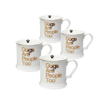 Grace Teaware Fido Pet Lover's Porcelain 12-Ounce Mug, Set of 4 (Gold / Dogs Are People Too)