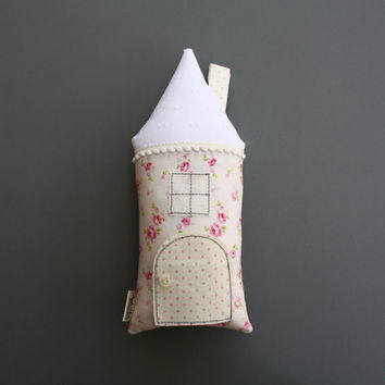 House Pillow, Tooth Fairy Cottage, Pink and White, Cottage Chic, Girls, Children, Toy, Stuffed Toy, Keepsake