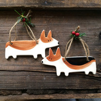 Dog Ornament, Corgi Dog Ornament, Welsh Corgi Ornament, Tri color Corgi Pet Ornament, Handmade pottery Dog Ornament, New Puppy Ornament