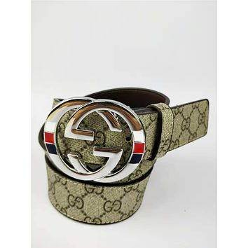 GUCCI classic printing men and women models wild fashion simple smooth buckle pants belt silvevr