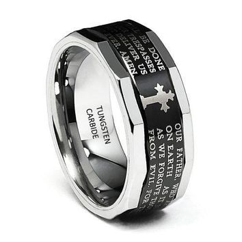 9mm Lord's Prayer Faceted Edge Men's Tungsten Wedding Band