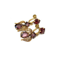 Art Nouveau Dangle Earrings, Amethyst Czech Glass, Antique Brass Filigree, Screw Back Earrings, Signed Czechoslov, Vintage Earrings