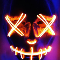 RED LED NEON GLOW LIGHT UP PURGE MASK FOR DJ, RAVE, EDC, ULTRA, FESTIVAL, CONCERT, COACHELLA