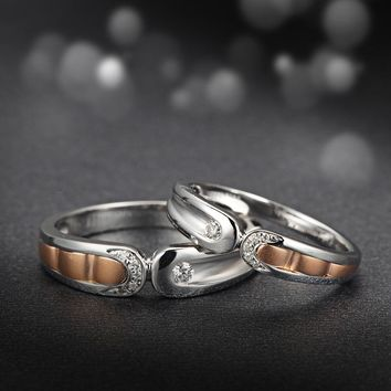 18K Two-Tone Gold Natural Diamond Ring Couple Set Wedding Band Handmade Engagement Jewelry Rose & White Gold