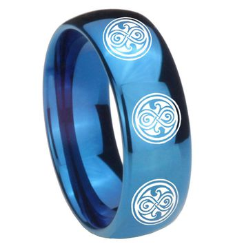 8MM Glossy Blue Dome Multiple Doctor Who Tungsten Carbide Laser Engraved Ring