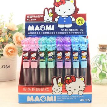 6 Pcs/set Novelty Hello Kitty Resin Activity Replacement Pencil Refill Standard Pencil Refills Plastic Stationery Supplies