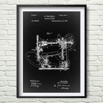 Sewing machine 1885 Patent Art Illustration, White, black, gray, blue Printable INSTANT DOWNLOAD - Get 5 Colors Background *6*