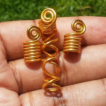 Wire wrapped, Spiral, Crisscrossed Dreadlock jewelry, hair accessories, ethnic jewelry set......Choose a color and size