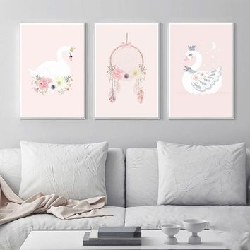 1pcs print canvas painting Nordic Kids Room Posters Wall Art Swan Pictures Home Decor(no frame no stretch)