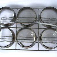 Vintage Set of Six Silver Ombre Vintage Roly Poly Glasses with Caddy