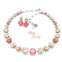 Swarovski® Crystal Necklace and Earrings, Spring Mix of 12mm Cushion Cut, 12mm Rivoli and 8mm Round, Peach Coral and Silk, Rhodium Finish