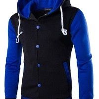 jeansian Men's Casual Sport Baseball Hoodie Sweatshirt Jacket Outwear Tops 9347