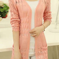 Pink Long Sleeve Collarless Cut Out Design Cardigan