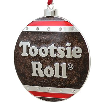 "3.5"" Silver Plated Tootsie Roll Candy Logo Christmas Ornament with European Crystals"