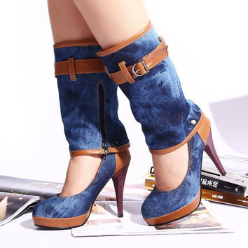 New Arrivals Fashion Ladies Denim Heels Sexy Woman New Design Shoes for Party Women High Heels