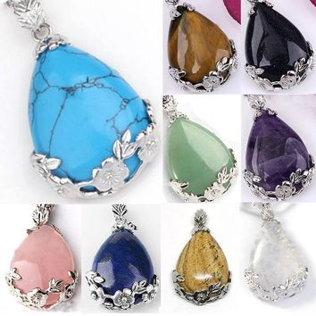Multicolor Teardrop Flower Healing Stone Crystal Pendants