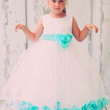 Satin & Tulle Floating Flower Petals Dress with Sash & Flower Petal Color Choices (Girls 2T - Size 14)