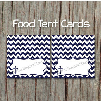 Religious Navy Blue Cross Food Tent Cards INSTANT DOWNLOAD Printable Baptism Christening Communion Party Supplies Place Cards Labels 023