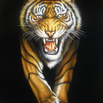 ON SALE yellow tiger black velvet oil painting handpainted signed art