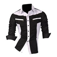 jeansian Men's Fashion Slim Long Sleeves Casual Shirts Dress Shirts Tops Z018