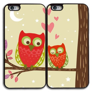 Cute Owls Fall in Love Couples Case for iPhone and Samsung Series,Two Differrent Phone Models Mixed OK