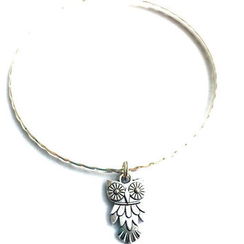 Silver Owl Charm Alex and Ani Inspired Stackable Bangle Bracelet