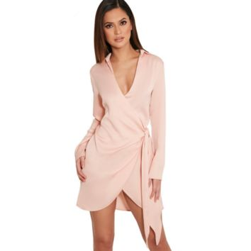 Satin lace Sexy Lingerie sexy short paragraph dress shirt dress