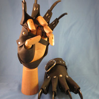 Brown Leather Gothic Steampunk Claw Gauntlets / Gloves