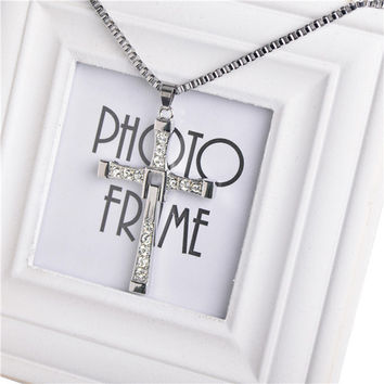 The Fast and Furious Dominic Toretto 925 sterling silver Cross Pendant Necklaces for Men Fashion Rhinstone Men's Jewelry Top Quality Cross Pendant NL161106