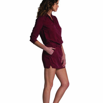 EM7103 Burgundy Long Sleeve Tunic Dress