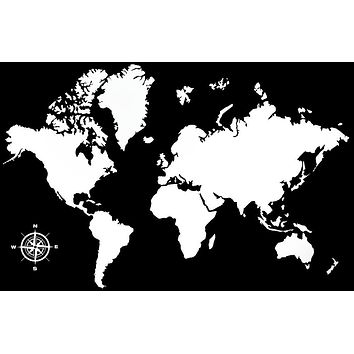 World Map Art Stickers Wallpaper Compass Vinyl Wall Decals for Living Room Sofa Background Decor Waterproof Wall Sticker ZB393