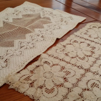 Set of 2 Vintage Rectangle Crocheted Doilies Perfect for Your Cottage Chic Decor