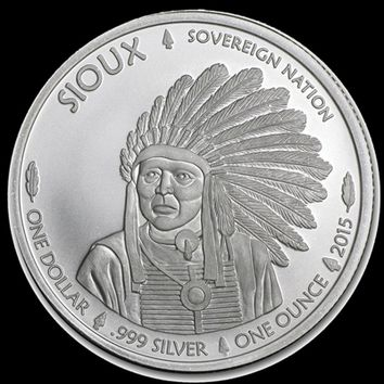 2015 1 Troy Oz .999 Pure Silver Native American Mint $1 Sioux Indian Coin / Round