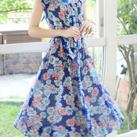 Bohemian Orchid Print Short Sleeve Midi Dress