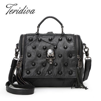 Teridiva Genuine Leather Bag Women Handbag Vintage Sheepskin Shoulder Bag Punk Skull Purse